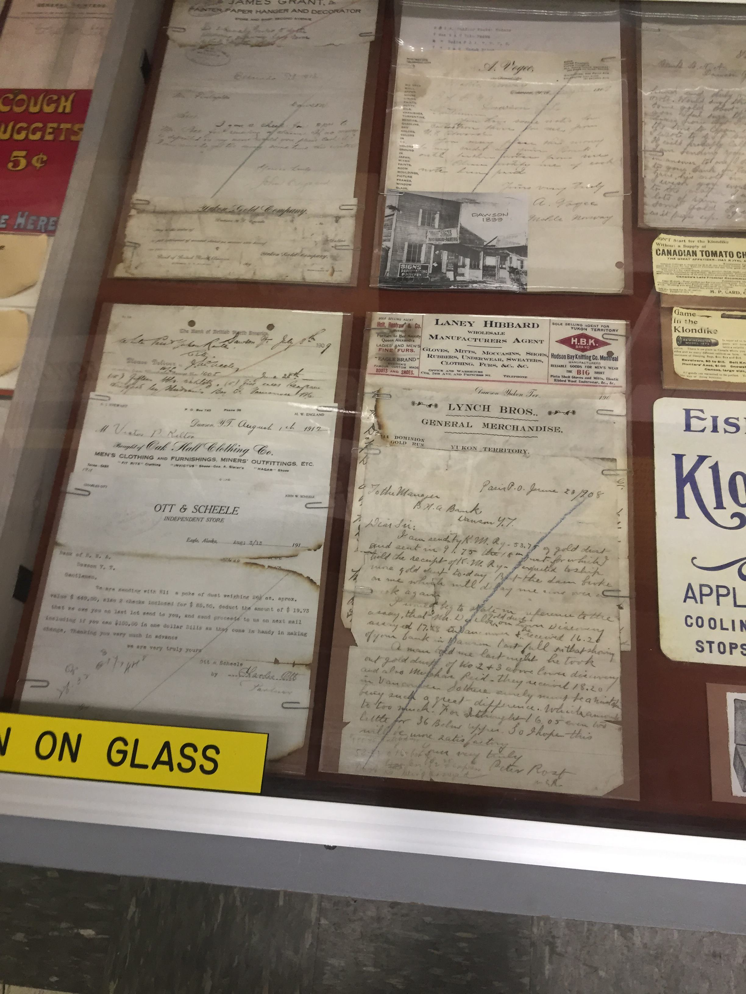 Letters from miners to businesses, paying for goods and services in gold dust
